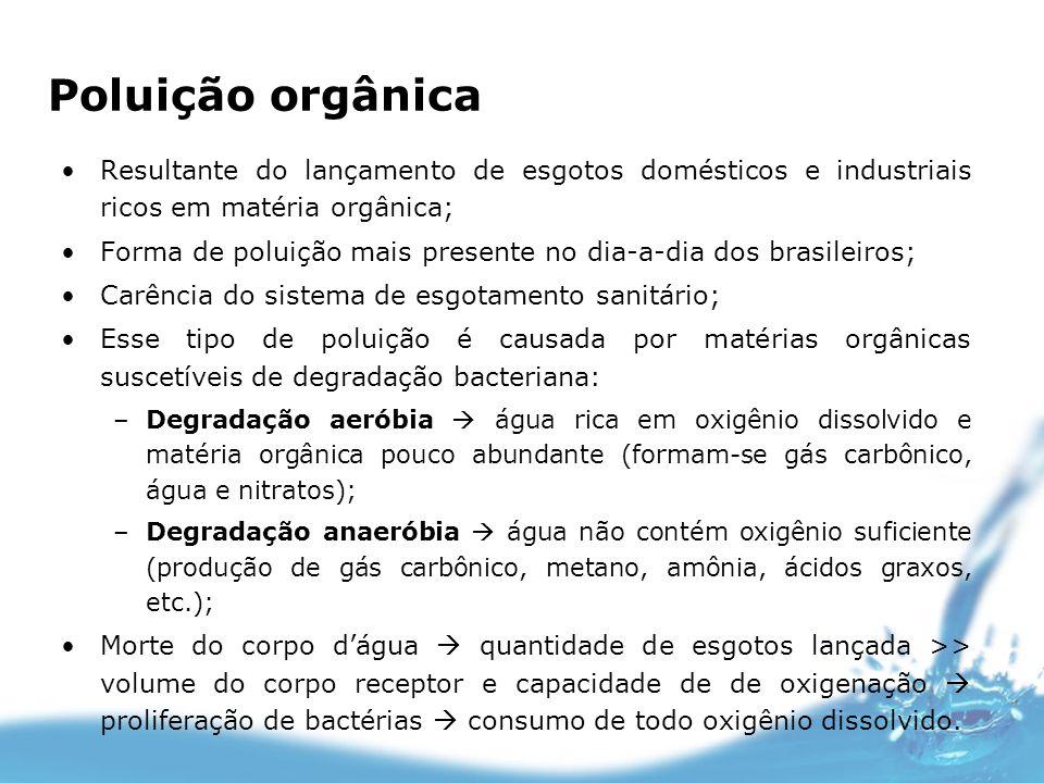 Poluição orgânica Resultante do lançamento de esgotos domésticos e industriais ricos em matéria orgânica; Forma de poluição mais presente no dia-a-dia