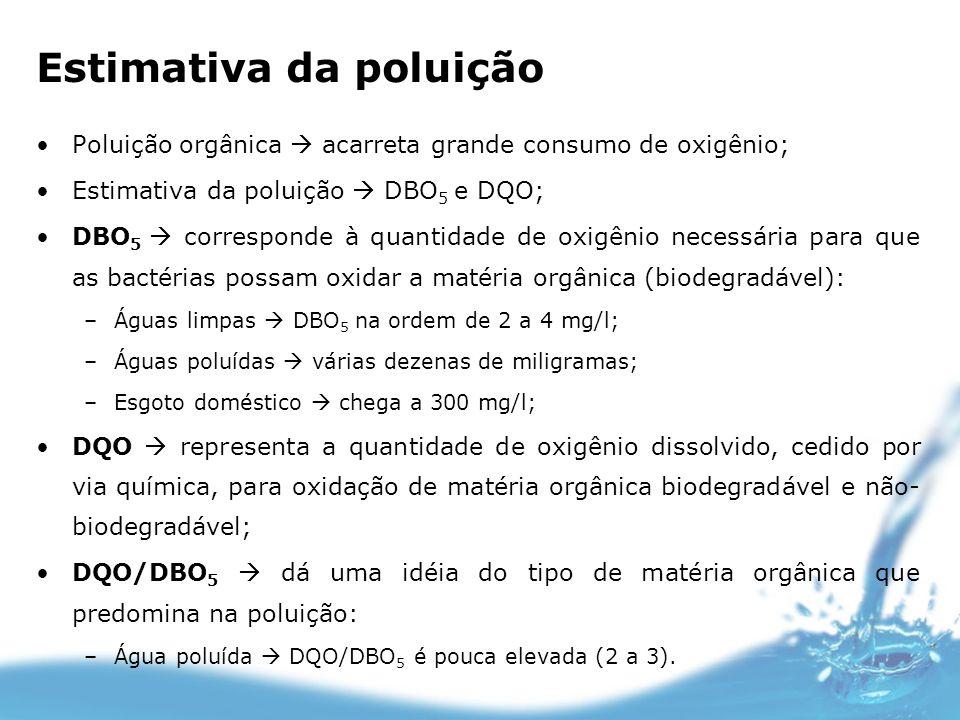 Estimativa da poluição Poluição orgânica acarreta grande consumo de oxigênio; Estimativa da poluição DBO 5 e DQO; DBO 5 corresponde à quantidade de ox