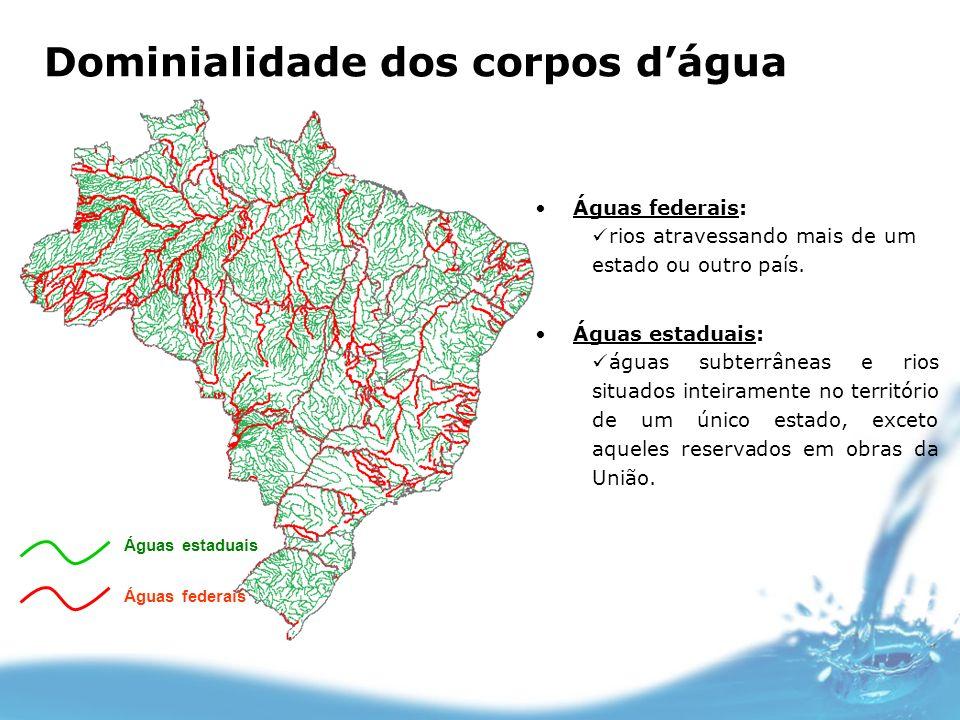 Águas estaduais Águas federais Águas federais: rios atravessando mais de um estado ou outro país. Águas estaduais: águas subterrâneas e rios situados