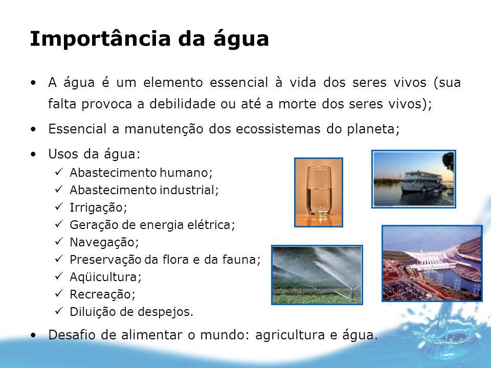 Importância da água A água é um elemento essencial à vida dos seres vivos (sua falta provoca a debilidade ou até a morte dos seres vivos); Essencial a