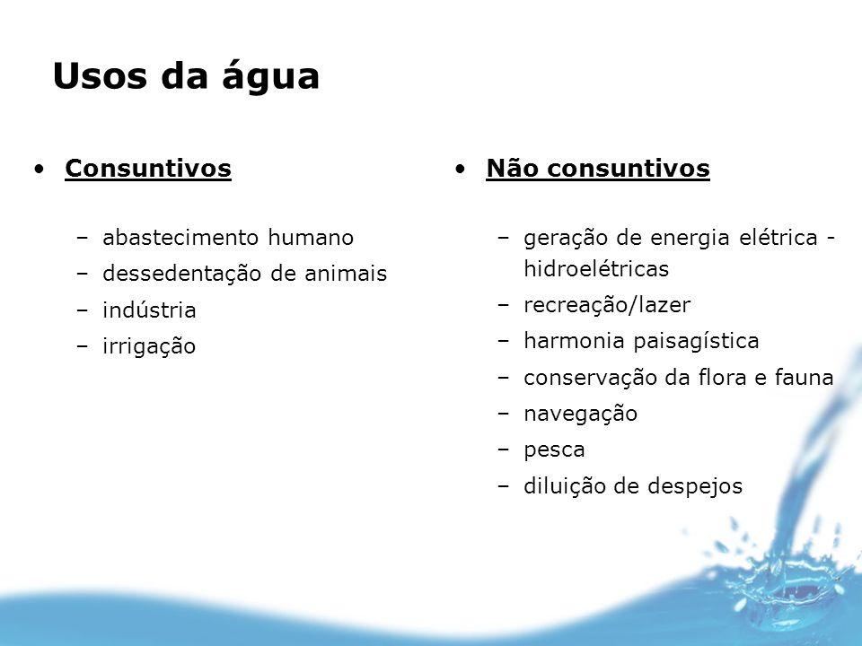 Usos da água Consuntivos –abastecimento humano –dessedentação de animais –indústria –irrigação Não consuntivos –geração de energia elétrica - hidroelé