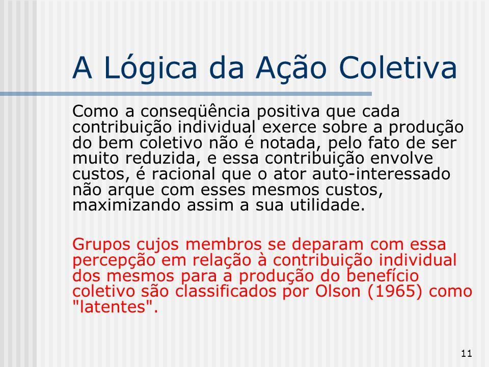 11 A Lógica da Ação Coletiva Como a conseqüência positiva que cada contribuição individual exerce sobre a produção do bem coletivo não é notada, pelo