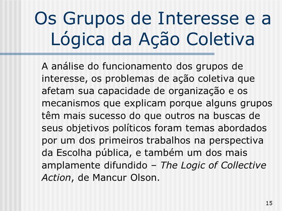 15 Os Grupos de Interesse e a Lógica da Ação Coletiva A análise do funcionamento dos grupos de interesse, os problemas de ação coletiva que afetam sua