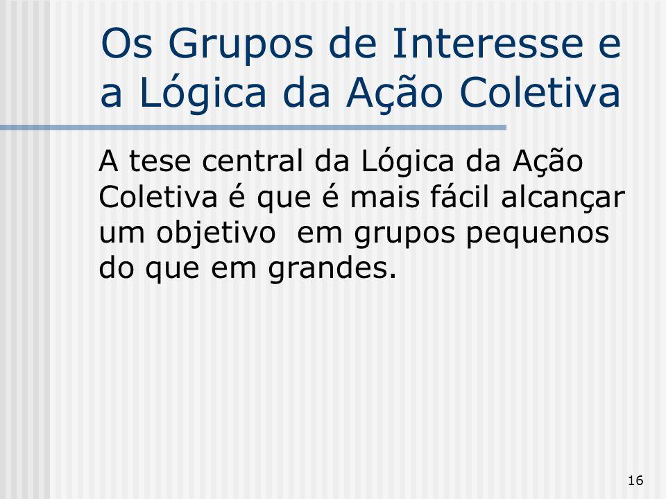 16 Os Grupos de Interesse e a Lógica da Ação Coletiva A tese central da Lógica da Ação Coletiva é que é mais fácil alcançar um objetivo em grupos pequenos do que em grandes.
