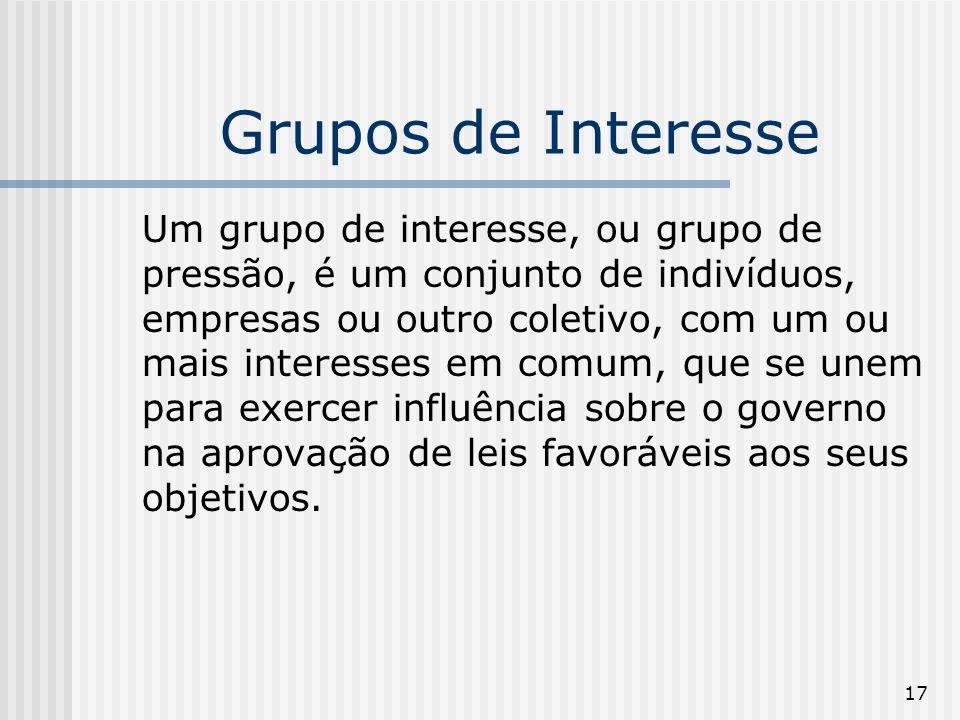 17 Grupos de Interesse Um grupo de interesse, ou grupo de pressão, é um conjunto de indivíduos, empresas ou outro coletivo, com um ou mais interesses em comum, que se unem para exercer influência sobre o governo na aprovação de leis favoráveis aos seus objetivos.