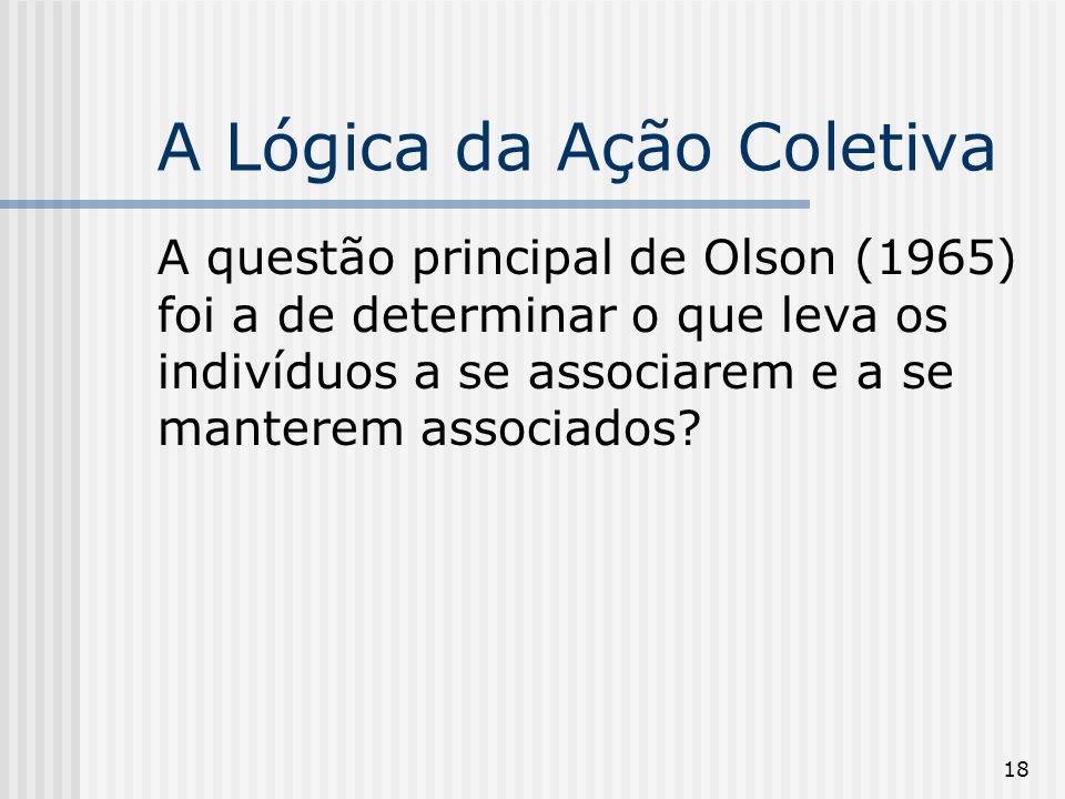 18 A Lógica da Ação Coletiva A questão principal de Olson (1965) foi a de determinar o que leva os indivíduos a se associarem e a se manterem associados
