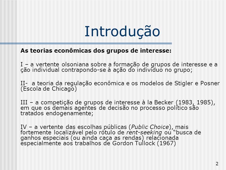 2 Introdução As teorias econômicas dos grupos de interesse: I – a vertente olsoniana sobre a formação de grupos de interesse e a ção individual contra