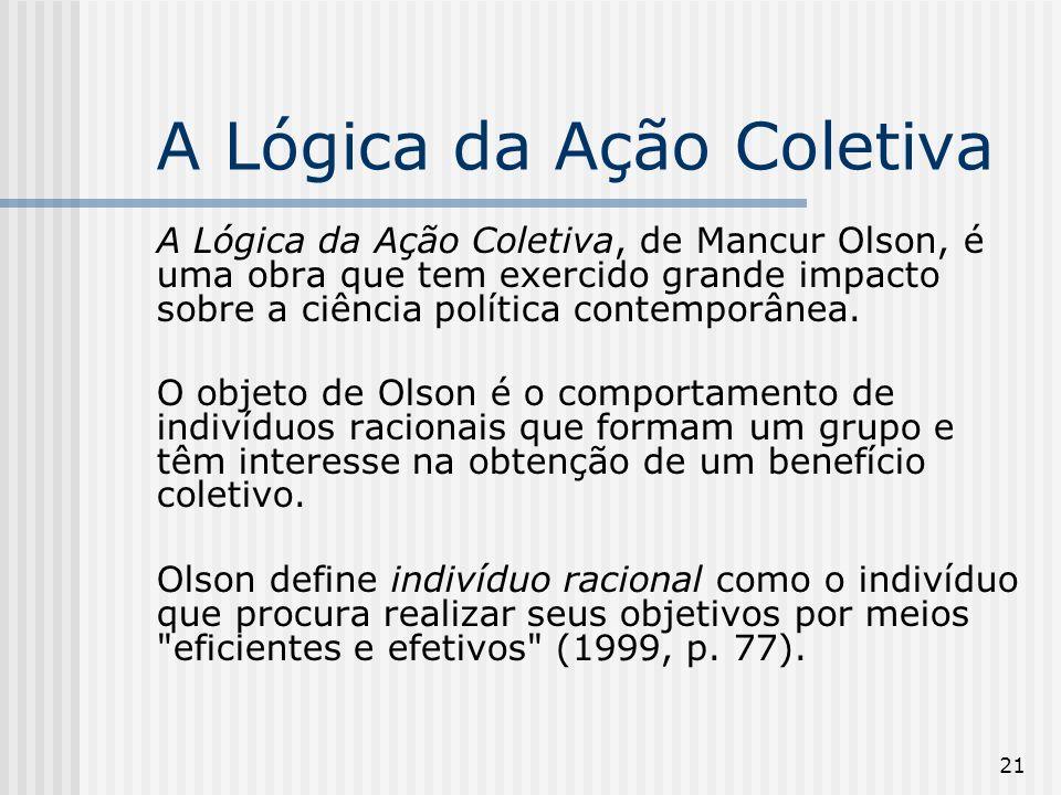 21 A Lógica da Ação Coletiva A Lógica da Ação Coletiva, de Mancur Olson, é uma obra que tem exercido grande impacto sobre a ciência política contemporânea.