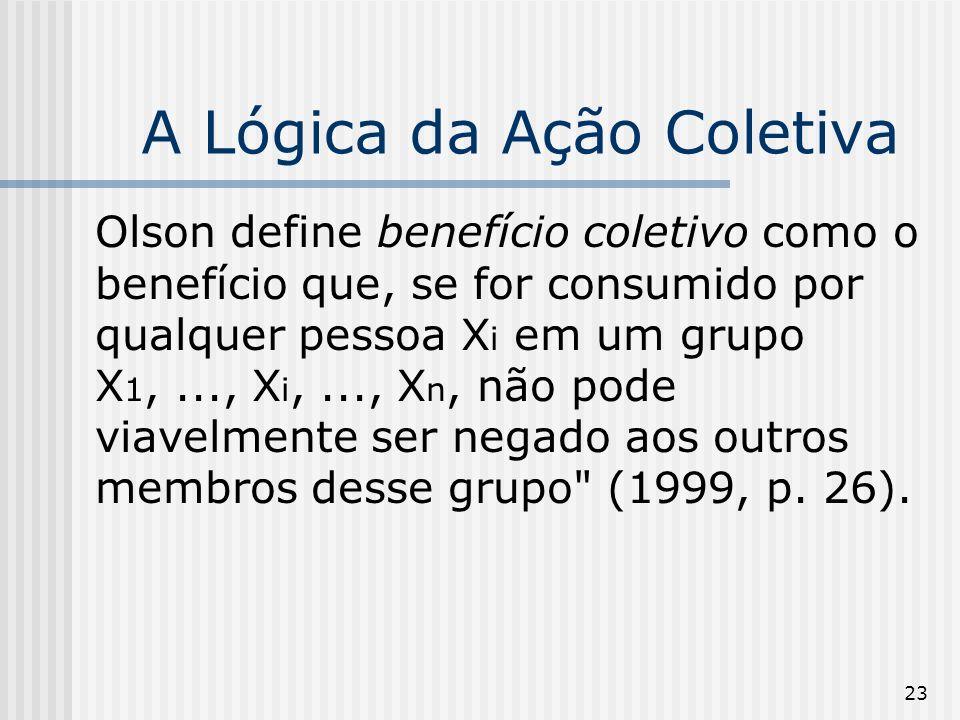 23 A Lógica da Ação Coletiva Olson define benefício coletivo como o benefício que, se for consumido por qualquer pessoa X i em um grupo X 1,..., X i,..., X n, não pode viavelmente ser negado aos outros membros desse grupo (1999, p.