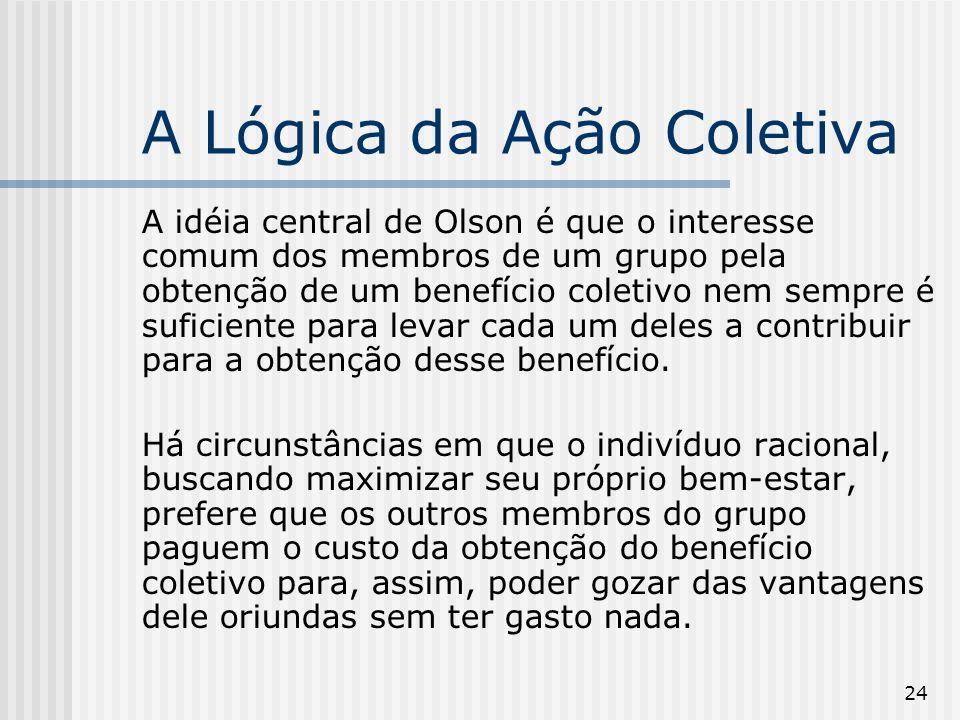24 A Lógica da Ação Coletiva A idéia central de Olson é que o interesse comum dos membros de um grupo pela obtenção de um benefício coletivo nem sempr