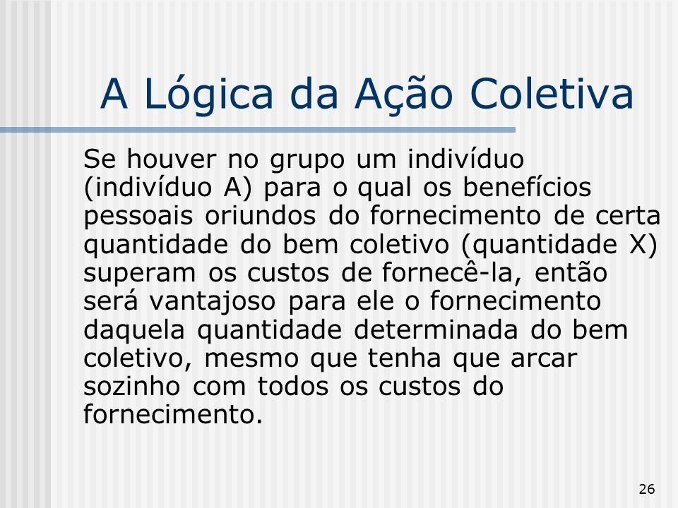 26 A Lógica da Ação Coletiva Se houver no grupo um indivíduo (indivíduo A) para o qual os benefícios pessoais oriundos do fornecimento de certa quanti