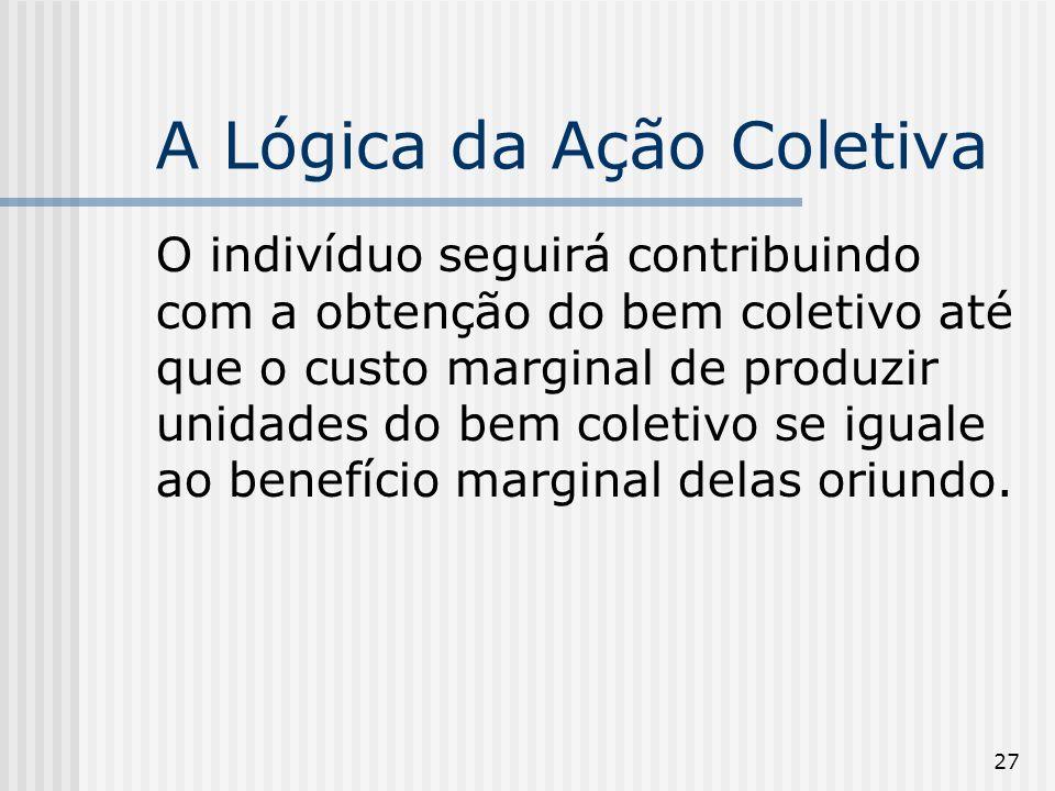 27 A Lógica da Ação Coletiva O indivíduo seguirá contribuindo com a obtenção do bem coletivo até que o custo marginal de produzir unidades do bem coletivo se iguale ao benefício marginal delas oriundo.