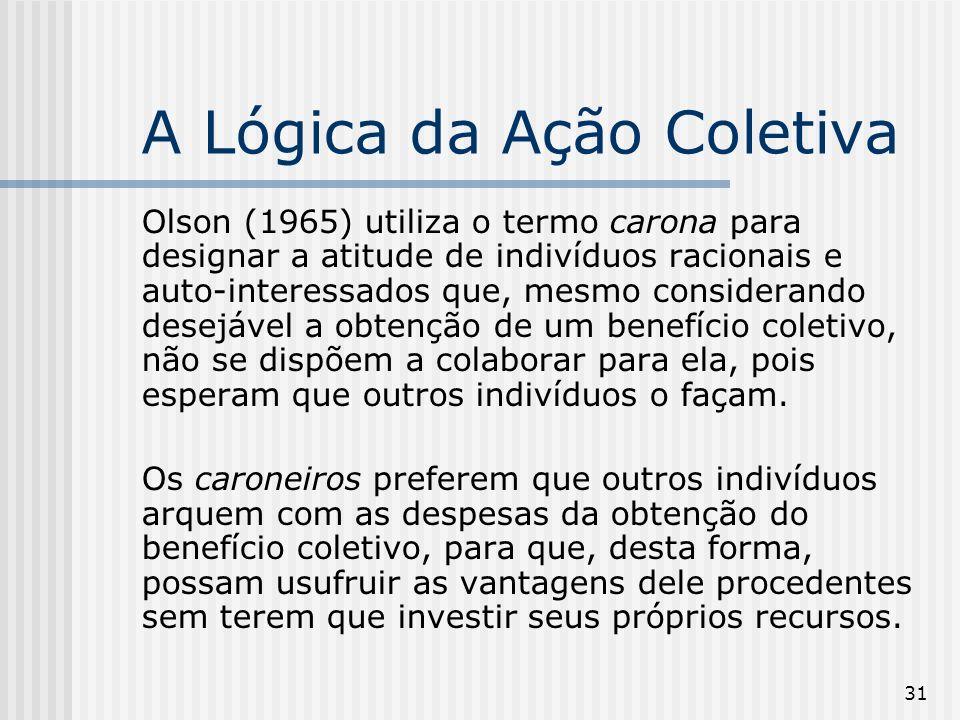 31 A Lógica da Ação Coletiva Olson (1965) utiliza o termo carona para designar a atitude de indivíduos racionais e auto-interessados que, mesmo consid