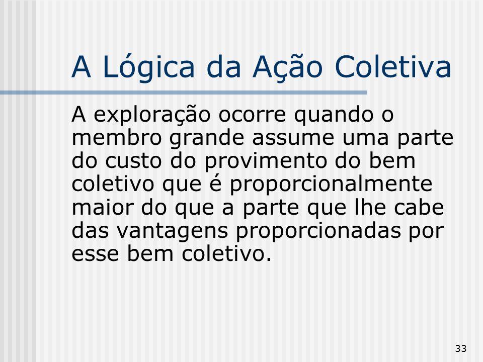 33 A Lógica da Ação Coletiva A exploração ocorre quando o membro grande assume uma parte do custo do provimento do bem coletivo que é proporcionalment