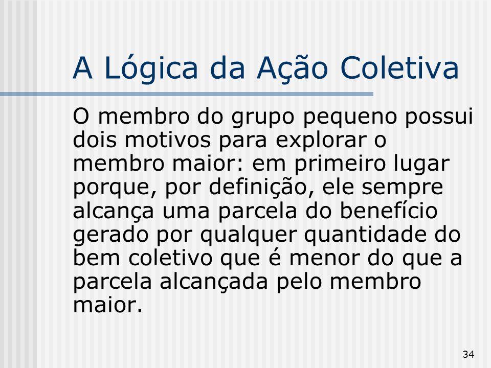 34 A Lógica da Ação Coletiva O membro do grupo pequeno possui dois motivos para explorar o membro maior: em primeiro lugar porque, por definição, ele