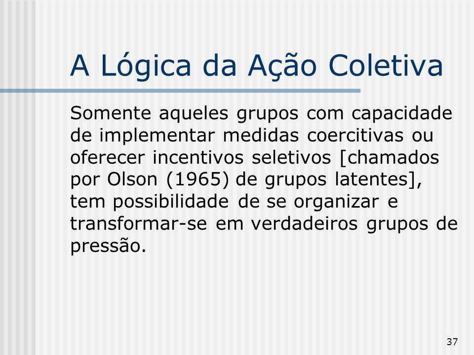 37 A Lógica da Ação Coletiva Somente aqueles grupos com capacidade de implementar medidas coercitivas ou oferecer incentivos seletivos [chamados por O
