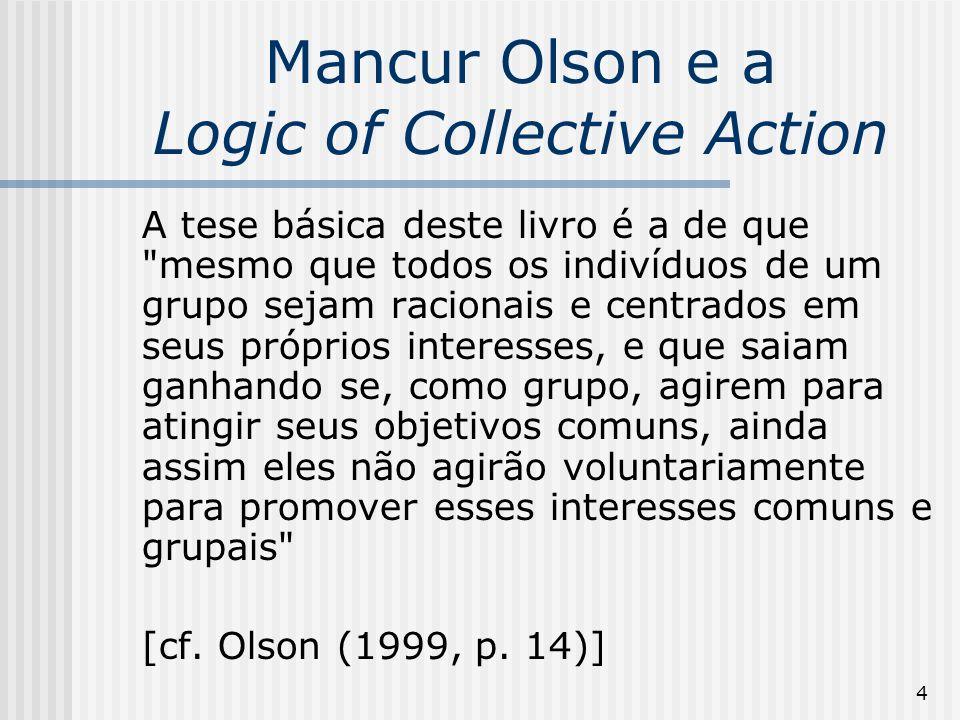 35 A Lógica da Ação Coletiva O membro menor tem menos incentivo para fornecer qualquer quantidade do bem coletivo do que o membro maior.