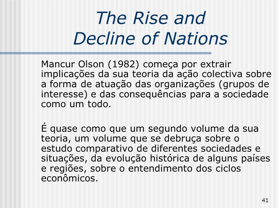41 The Rise and Decline of Nations Mancur Olson (1982) começa por extrair implicações da sua teoria da ação colectiva sobre a forma de atuação das organizações (grupos de interesse) e das consequências para a sociedade como um todo.