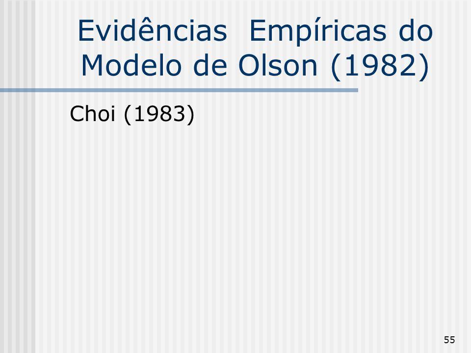 55 Evidências Empíricas do Modelo de Olson (1982) Choi (1983)