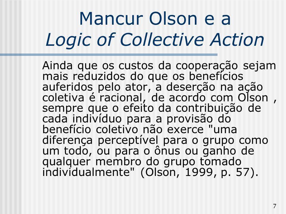 18 A Lógica da Ação Coletiva A questão principal de Olson (1965) foi a de determinar o que leva os indivíduos a se associarem e a se manterem associados?