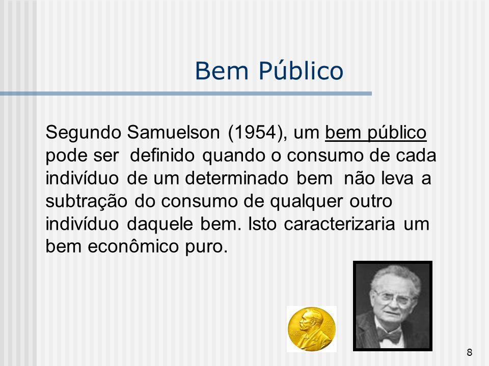 8 Bem Público Segundo Samuelson (1954), um bem público pode ser definido quando o consumo de cada indivíduo de um determinado bem não leva a subtração do consumo de qualquer outro indivíduo daquele bem.