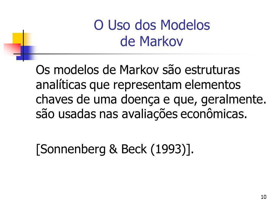 10 O Uso dos Modelos de Markov Os modelos de Markov são estruturas analíticas que representam elementos chaves de uma doença e que, geralmente.