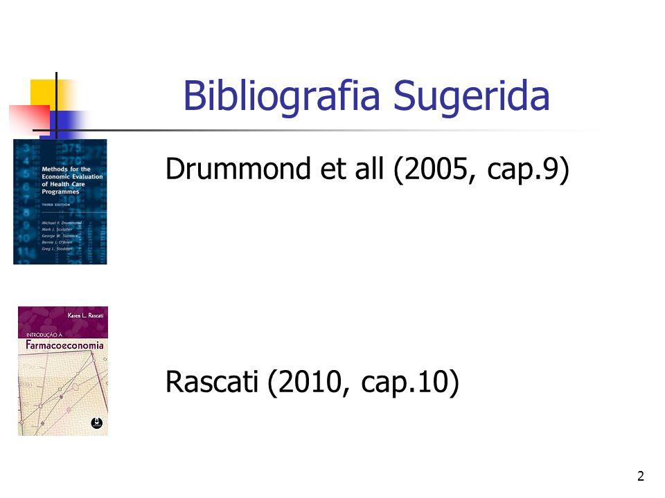 2 Bibliografia Sugerida Drummond et all (2005, cap.9) Rascati (2010, cap.10)