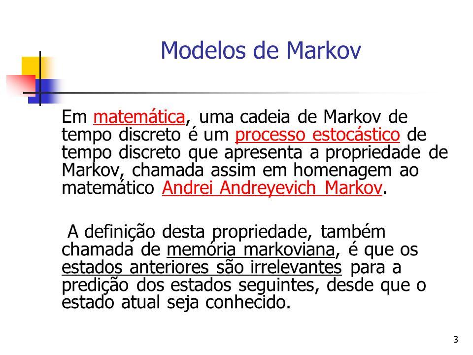 3 Modelos de Markov Em matemática, uma cadeia de Markov de tempo discreto é um processo estocástico de tempo discreto que apresenta a propriedade de Markov, chamada assim em homenagem ao matemático Andrei Andreyevich Markov.matemáticaprocesso estocásticoAndrei Andreyevich Markov A definição desta propriedade, também chamada de memória markoviana, é que os estados anteriores são irrelevantes para a predição dos estados seguintes, desde que o estado atual seja conhecido.