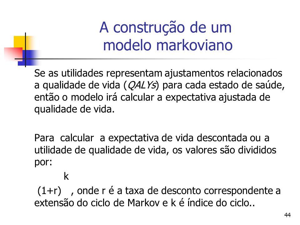 44 A construção de um modelo markoviano Se as utilidades representam ajustamentos relacionados a qualidade de vida (QALYs) para cada estado de saúde, então o modelo irá calcular a expectativa ajustada de qualidade de vida.