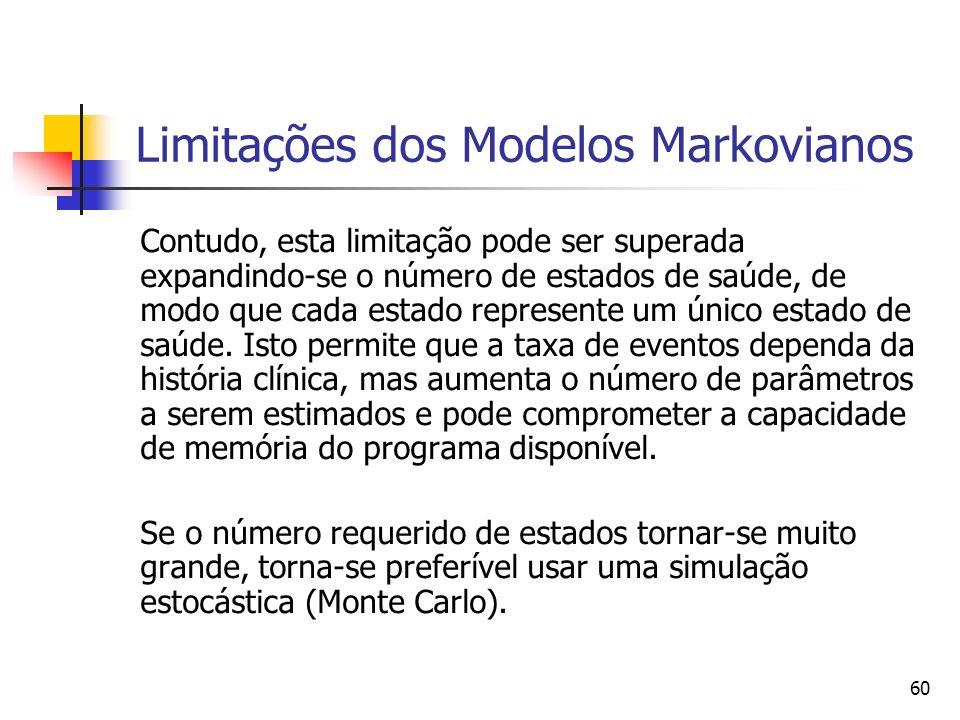 60 Limitações dos Modelos Markovianos Contudo, esta limitação pode ser superada expandindo-se o número de estados de saúde, de modo que cada estado represente um único estado de saúde.