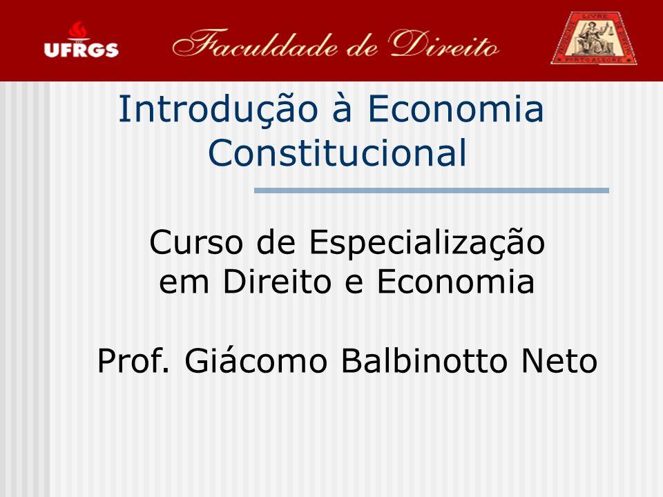 52 O Impacto Econômico das Constituições O estudo do impacto econômico das constitui ç ões faz parte do que atualmente chamamos Economia Constitucional, um campo de estudo que surgiu no in í cio dos anos 1960 com o trabalho seminal de James Buchanan e Gordon Tullock, o C á lculo do Consenso.