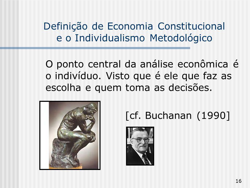 16 Definição de Economia Constitucional e o Individualismo Metodológico O ponto central da análise econômica é o indivíduo.