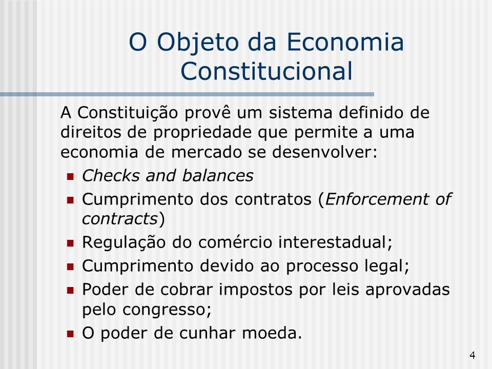 75 Elster, Jon (1995) The Impact of Constitutions on Economic Performance Elster (1995) argumenta que as constituições afetam o desempenho econômico na medida em que elas promovem a estabilidade política, a credibilidade e a transparência das decisões.