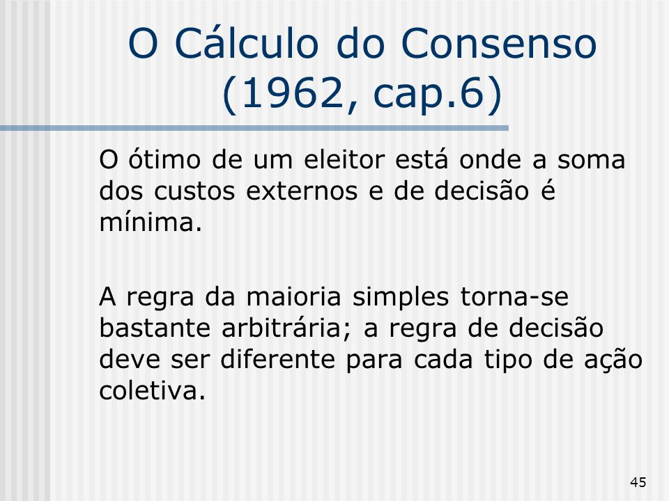 45 O Cálculo do Consenso (1962, cap.6) O ótimo de um eleitor está onde a soma dos custos externos e de decisão é mínima.