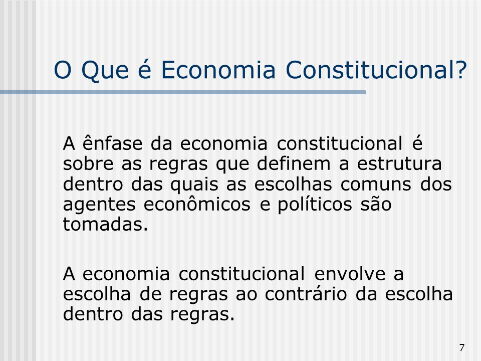 38 A Contribuição de James Buchanan Buchanan s contribution is that he has transferred the concept of gain derived from mutual exchange between individuals to the realm of political decision-making.