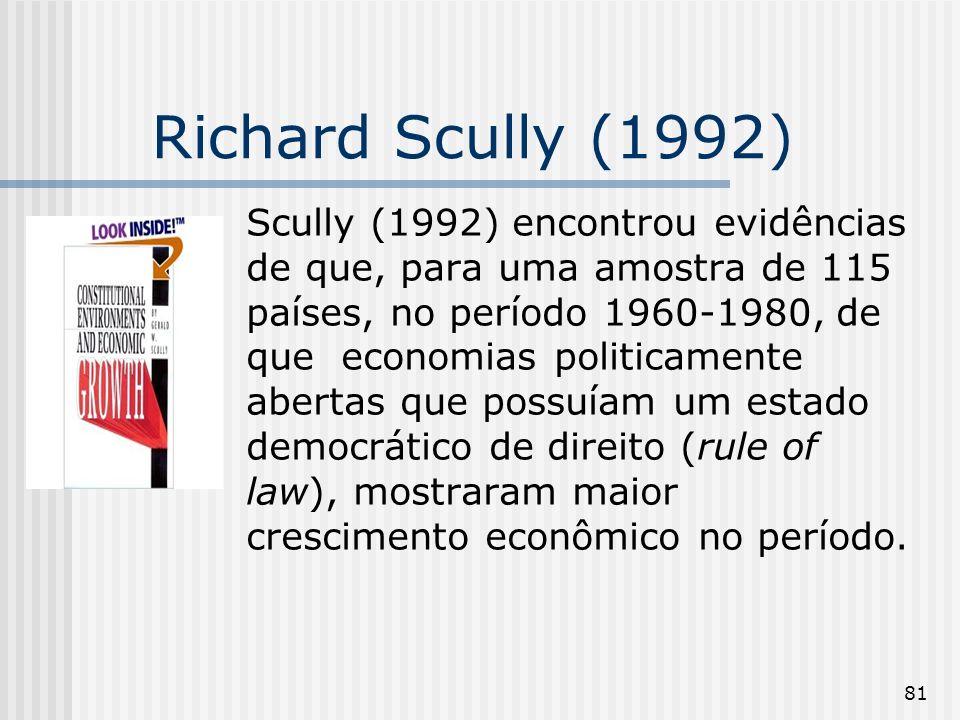 81 Richard Scully (1992) Scully (1992) encontrou evidências de que, para uma amostra de 115 países, no período 1960-1980, de que economias politicamente abertas que possuíam um estado democrático de direito (rule of law), mostraram maior crescimento econômico no período.