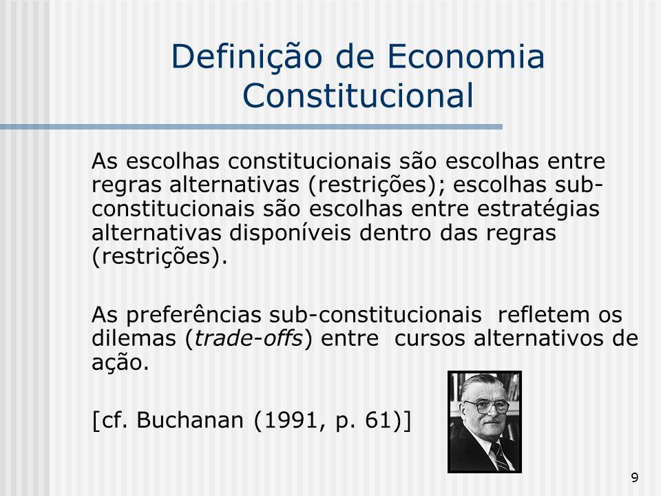 9 Definição de Economia Constitucional As escolhas constitucionais são escolhas entre regras alternativas (restrições); escolhas sub- constitucionais são escolhas entre estratégias alternativas disponíveis dentro das regras (restrições).