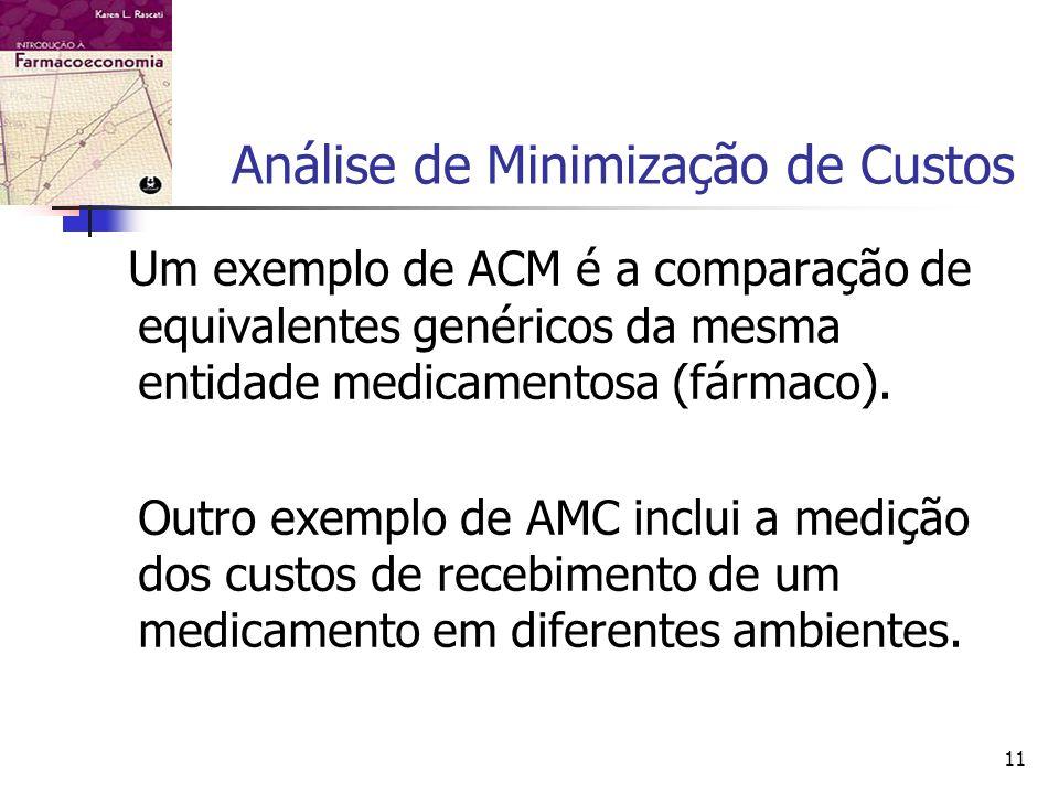 11 Análise de Minimização de Custos Um exemplo de ACM é a comparação de equivalentes genéricos da mesma entidade medicamentosa (fármaco).
