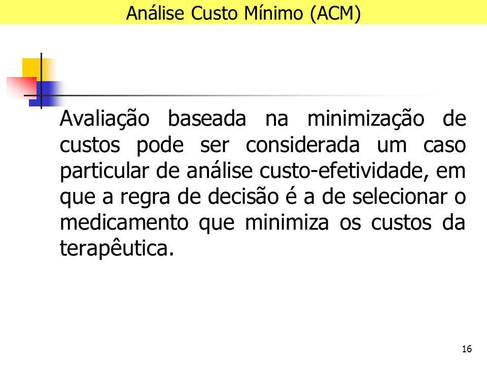 16 Avaliação baseada na minimização de custos pode ser considerada um caso particular de análise custo-efetividade, em que a regra de decisão é a de selecionar o medicamento que minimiza os custos da terapêutica.