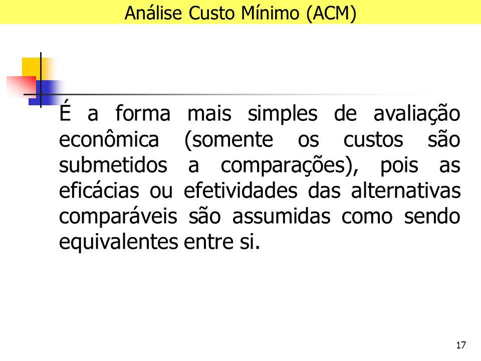 17 É a forma mais simples de avaliação econômica (somente os custos são submetidos a comparações), pois as eficácias ou efetividades das alternativas comparáveis são assumidas como sendo equivalentes entre si.