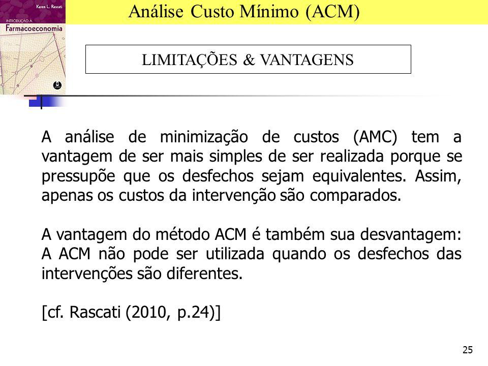 25 A análise de minimização de custos (AMC) tem a vantagem de ser mais simples de ser realizada porque se pressupõe que os desfechos sejam equivalentes.