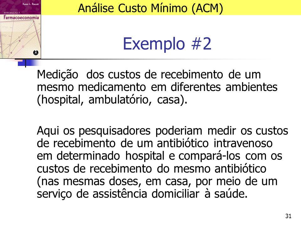 31 Exemplo #2 Medição dos custos de recebimento de um mesmo medicamento em diferentes ambientes (hospital, ambulatório, casa).