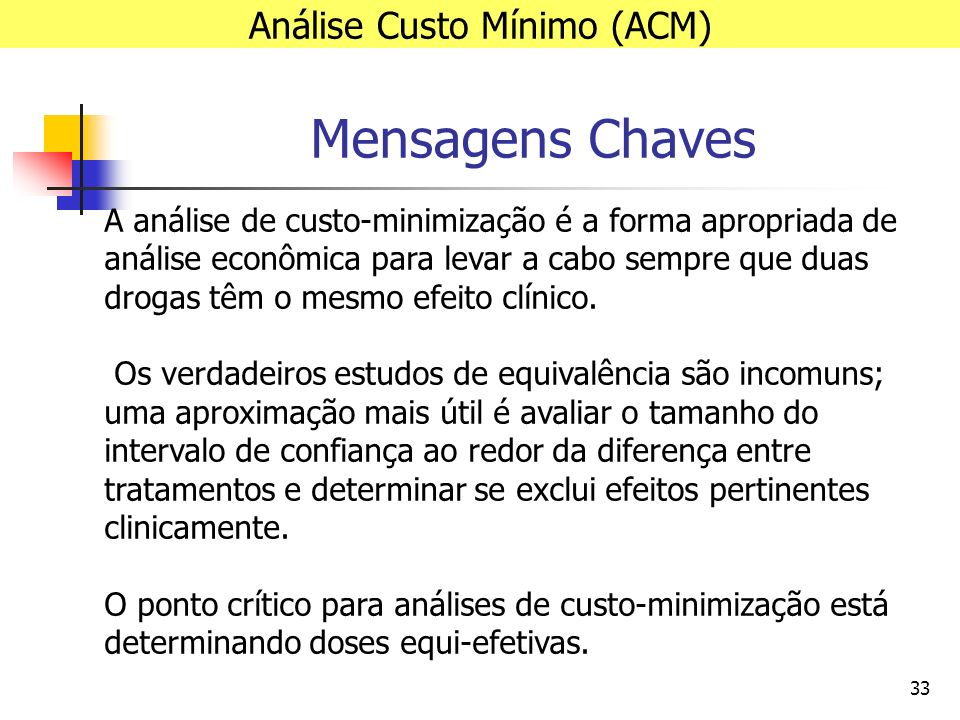 33 Mensagens Chaves Análise Custo Mínimo (ACM) A análise de custo-minimização é a forma apropriada de análise econômica para levar a cabo sempre que duas drogas têm o mesmo efeito clínico.