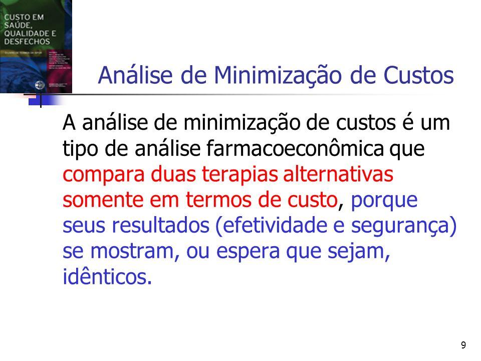 9 Análise de Minimização de Custos A análise de minimização de custos é um tipo de análise farmacoeconômica que compara duas terapias alternativas somente em termos de custo, porque seus resultados (efetividade e segurança) se mostram, ou espera que sejam, idênticos.
