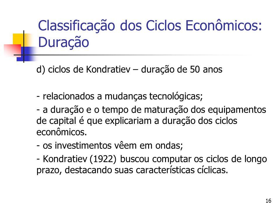 16 Classificação dos Ciclos Econômicos: Duração d) ciclos de Kondratiev – duração de 50 anos - relacionados a mudanças tecnológicas; - a duração e o t