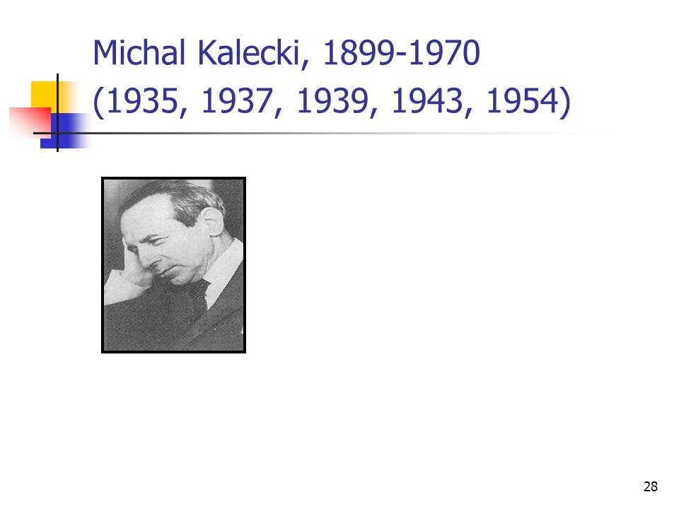 28 Michal Kalecki, 1899-1970 (1935, 1937, 1939, 1943, 1954)