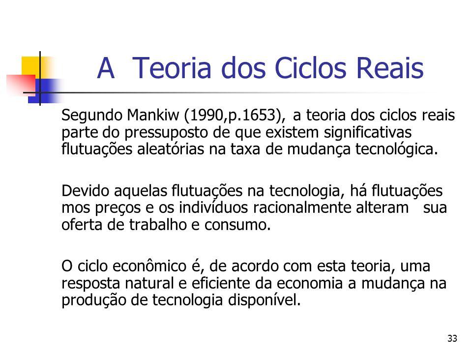 33 A Teoria dos Ciclos Reais Segundo Mankiw (1990,p.1653), a teoria dos ciclos reais parte do pressuposto de que existem significativas flutuações ale