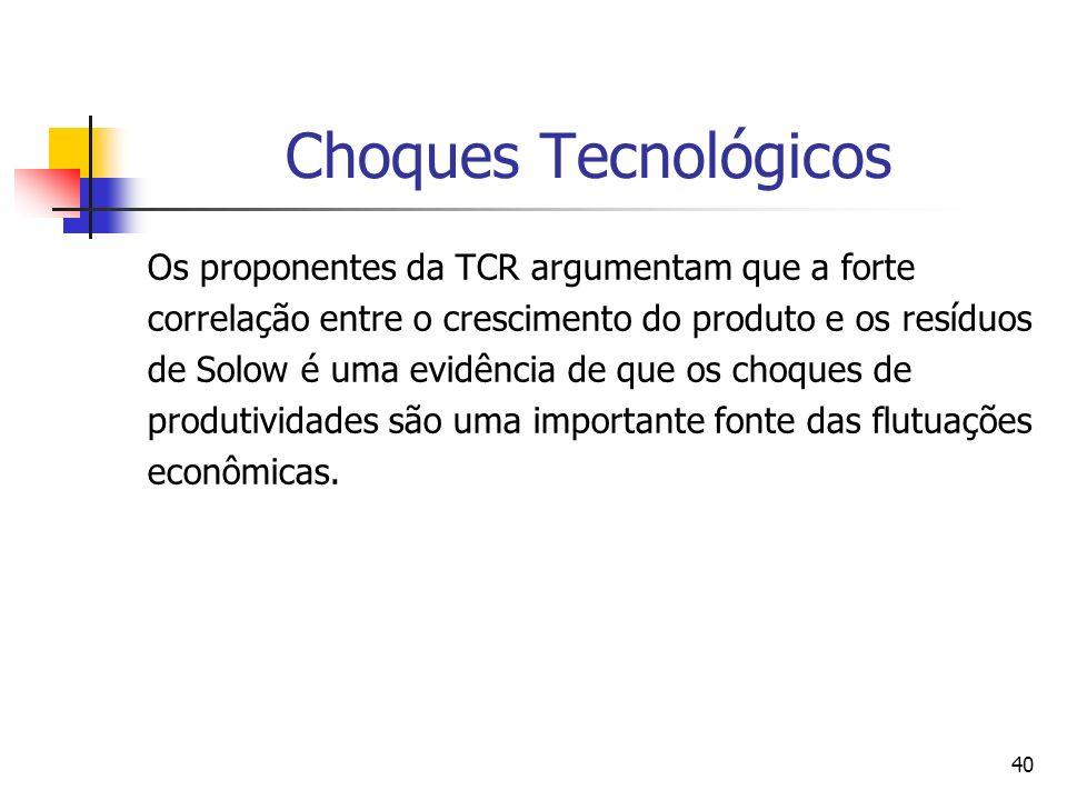 40 Choques Tecnológicos Os proponentes da TCR argumentam que a forte correlação entre o crescimento do produto e os resíduos de Solow é uma evidência