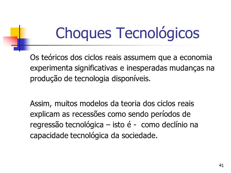 41 Choques Tecnológicos Os teóricos dos ciclos reais assumem que a economia experimenta significativas e inesperadas mudanças na produção de tecnologi