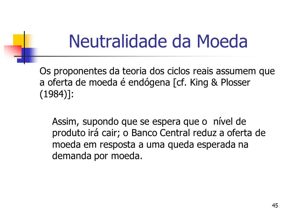 45 Neutralidade da Moeda Os proponentes da teoria dos ciclos reais assumem que a oferta de moeda é endógena [cf. King & Plosser (1984)]: Assim, supond